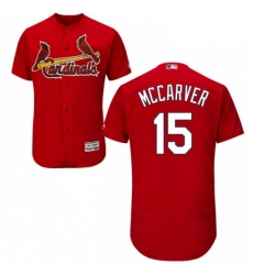 Mens Majestic St Louis Cardinals 15 Tim McCarver Red Alternate Flex Base Authentic Collection MLB Jersey
