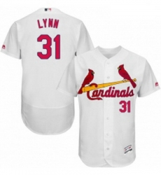 Mens Majestic St Louis Cardinals 31 Lance Lynn White Home Flex Base Authentic Collection MLB Jersey