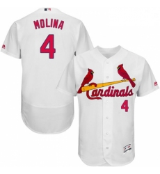 Mens Majestic St Louis Cardinals 4 Yadier Molina White Home Flex Base Authentic Collection MLB Jersey