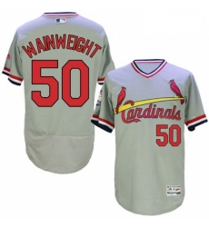 Mens Majestic St Louis Cardinals 50 Adam Wainwright Grey Flexbase Authentic Collection Cooperstown MLB Jersey