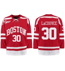 Boston University Terriers BU 30 Connor LaCouvee Red Stitched Hockey Jersey