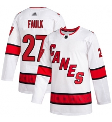 Youth Hurricanes 27 Justin Faulk White Road Authentic Stitched Hockey Jersey