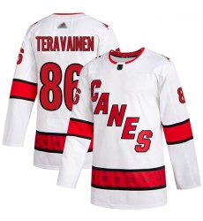 Youth Hurricanes 86 Teuvo Teravainen White Road Authentic Stitched Hockey Jersey