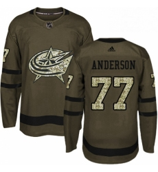 Mens Adidas Columbus Blue Jackets 77 Josh Anderson Premier Green Salute to Service NHL Jersey