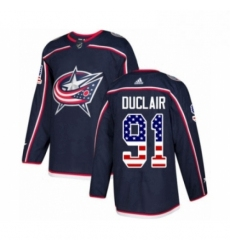 Mens Adidas Columbus Blue Jackets 91 Anthony Duclair Authentic Navy Blue USA Flag Fashion NHL Jersey