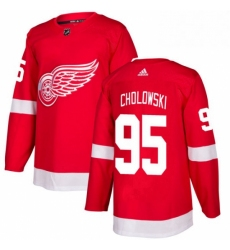 Mens Adidas Detroit Red Wings 95 Dennis Cholowski Authentic Red Home NHL Jersey