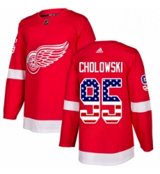 Mens Adidas Detroit Red Wings 95 Dennis Cholowski Authentic Red USA Flag Fashion NHL Jersey