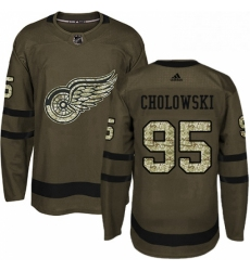 Mens Adidas Detroit Red Wings 95 Dennis Cholowski Premier Green Salute to Service NHL Jersey