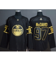Oilers 97 Connor McDavid Black Gold Authentic Stitched Hockey Jersey