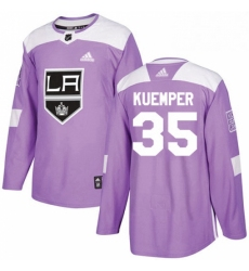 Mens Adidas Los Angeles Kings 35 Darcy Kuemper Authentic Purple Fights Cancer Practice NHL Jersey