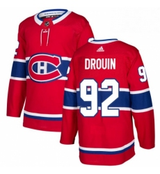 Mens Adidas Montreal Canadiens 92 Jonathan Drouin Authentic Red Home NHL Jersey