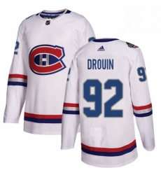 Mens Adidas Montreal Canadiens 92 Jonathan Drouin Authentic White 2017 100 Classic NHL Jersey