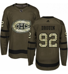 Mens Adidas Montreal Canadiens 92 Jonathan Drouin Premier Green Salute to Service NHL Jersey
