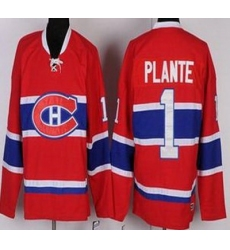 Montreal Canadiens 1 Jacques Plante Red Throwback CCM NHL Jersey