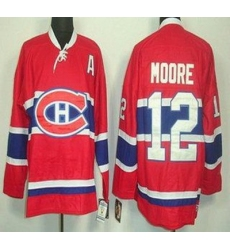 Montreal Canadiens 12 Dickie Moore Red Throwback CCM NHL Jersey
