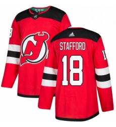 Mens Adidas New Jersey Devils 18 Drew Stafford Authentic Red Home NHL Jersey