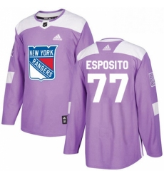 Mens Adidas New York Rangers 77 Phil Esposito Authentic Purple Fights Cancer Practice NHL Jersey