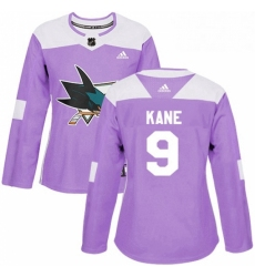 Womens Adidas San Jose Sharks 9 Evander Kane Authentic Purple Fights Cancer Practice NHL Jersey
