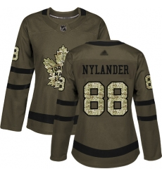 Women Maple Leafs 88 William Nylander Green Salute to Service Stitched Hockey Jersey