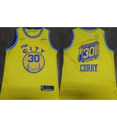 Warriors 30 Stephen Curry Yellow City Edition Nike Authentic Jersey