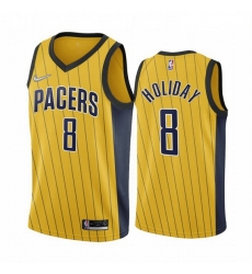 Men Indiana Pacers 8 Justin Holiday Gold NBA Swingman 2020 21 Earned Edition Jersey