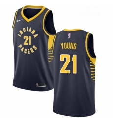 Womens Nike Indiana Pacers 21 Thaddeus Young Swingman Navy Blue Road NBA Jersey Icon Edition