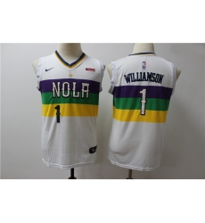 Youth Pelicans 1 Zion Williamson Youth White City Edition Nike Swingman Jersey