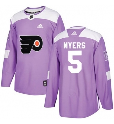 Men Philadelphia Flyers Philippe Myers Adidas Purple Authentic Fights Cancer Practice Jersey