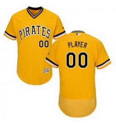 Men Women Youth All Size Pittsburgh Pirates Majestic Alternate Gold Flex Base Authentic Collection Custom Jersey