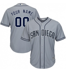 Men Women Youth All Size San Diego Padres Custom Cool Base Grey Jersey