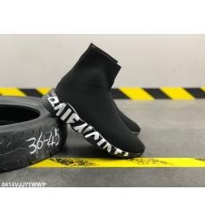 Balencia socks elastic woven surface Men Women Shoes Black White Letters