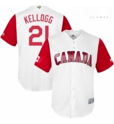 Mens Canada Baseball Majestic 21 Ryan Kellogg White 2017 World Baseball Classic Replica Team Jersey