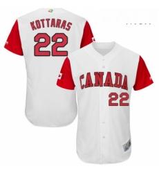 Mens Canada Baseball Majestic 22 George Kottaras White 2017 World Baseball Classic Authentic Team Jersey
