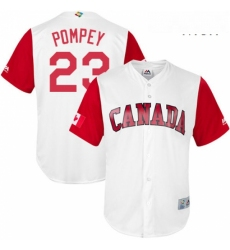 Mens Canada Baseball Majestic 23 Dalton Pompey White 2017 World Baseball Classic Replica Team Jersey