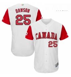 Mens Canada Baseball Majestic 25 Shane Dawson White 2017 World Baseball Classic Authentic Team Jersey