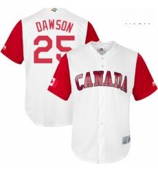 Mens Canada Baseball Majestic 25 Shane Dawson White 2017 World Baseball Classic Replica Team Jersey