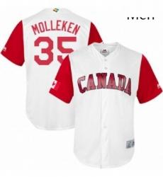 Mens Canada Baseball Majestic 35 Dustin Molleken White 2017 World Baseball Classic Replica Team Jersey