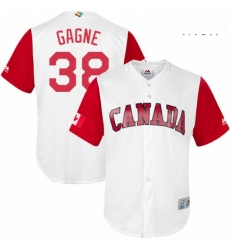 Mens Canada Baseball Majestic 38 Eric Gagne White 2017 World Baseball Classic Replica Team Jersey