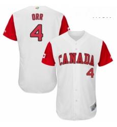 Mens Canada Baseball Majestic 4 Pete Orr White 2017 World Baseball Classic Authentic Team Jersey