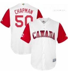 Mens Canada Baseball Majestic 50 Kevin Chapman White 2017 World Baseball Classic Replica Team Jersey