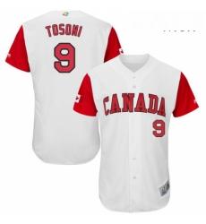 Mens Canada Baseball Majestic 9 Rene Tosoni White 2017 World Baseball Classic Authentic Team Jersey