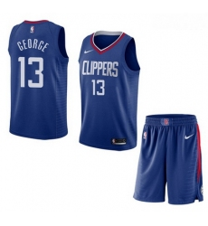 Clippers 13 Paul George Blue City Edition Nike Swingman Jersey 28With Shorts