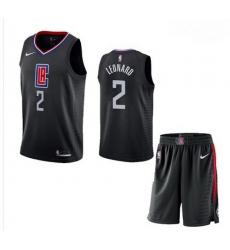 Clippers 2 Kawhi Leonard Black City Edition Nike Swingman Jersey 28With Shorts