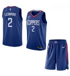 Clippers 2 Kawhi Leonard Blue City Edition Nike Swingman Jersey  With Shorts