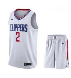 Clippers 2 Kawhi Leonard White City Edition Nike Swingman Jersey 28With Shorts