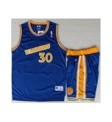 Golden State Warriors 30 Stephen Curry Blue Hardwood Classics NBA Jerseys Shorts Suits