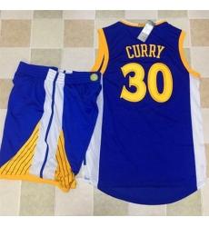 Warriors #30 Stephen Curry Blue A Set Stitched NBA Jersey