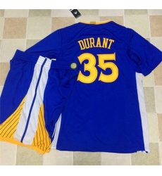Warriors #35 Kevin Durant Blue Long Sleeve A Set Stitched NBA Jersey