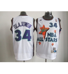NBA 95 All Star #34 Olajuwon White Jerseys