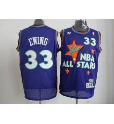 NBA New York Knicks #33 Patrick Ewing 95 All Star #33 Ewing Purple Jerseys